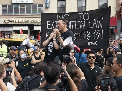 Hong Kong Civic Party leader Alvin Yeung delivers a speech in Confucius Plaza on August 17, 2019 in New York in support of protesters in Hong Kong. (AFP/ File Photo)