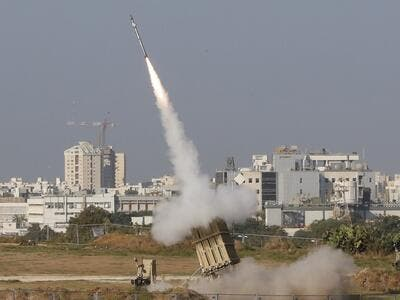 An Israeli missile is launched from the Iron Dome defence missile system, designed to intercept and destroy incoming short-range rockets and artillery shells, in the southern Israeli city of Ashdod on November 12, 2019. (AFP)