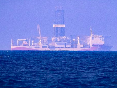 This photo from June 24, 2019, in the Mediterranean Sea off Cyprus shows the drilling vessel Fatih, which was deployed by Turkey to search for gas and oil in waters considered part of the EU state's exclusive economic zone. (AFP)