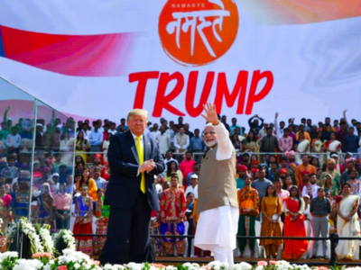 Trump heaped praise on Modi as an 'a great champion of India' in front of a crowd of around 100,000 at the world's biggest cricket stadium
