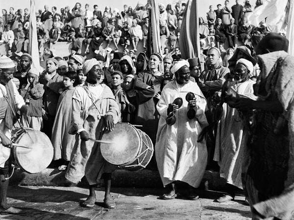 Musicians play during a ceremony on the Grand Socco place, in October 1945 in Tangiers, Morocco. AFP