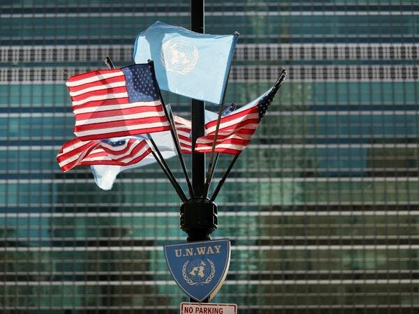 American and United Nations flags fly across from the United Nations in Manhattan on the first official day of the 75th United Nations General Assembly on September 22, 2020 in New York City. Due to the ongoing COVID-19 pandemic, this year's gathering is mostly being held remotely with world leaders making speeches and appearances by video link. Spencer Platt/Getty Images/AFP SPENCER PLATT / GETTY IMAGES NORTH AMERICA / Getty Images via AFP