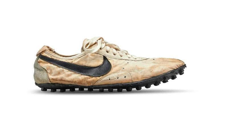Nike co-founder Bill Bowerman designed the flat racing 'Moon Shoe' which was made for runners at the 1972 Olympic trials.