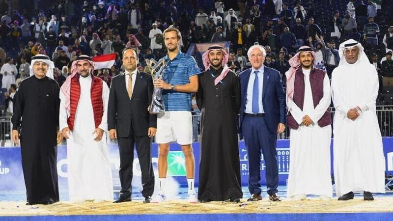 Russia's Daniil Medvedev was crowned champion of the inaugural Diriyah Tennis Cup. (SPA)