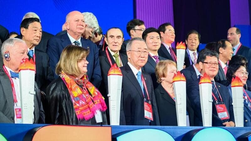 Former United Nations Secretary General Ban Ki-moon and other delegates kicked off the Pyeongchang Peace Forum 2020 in South Korea on Sunday. (Photo: Thomas Maresca/UPI)