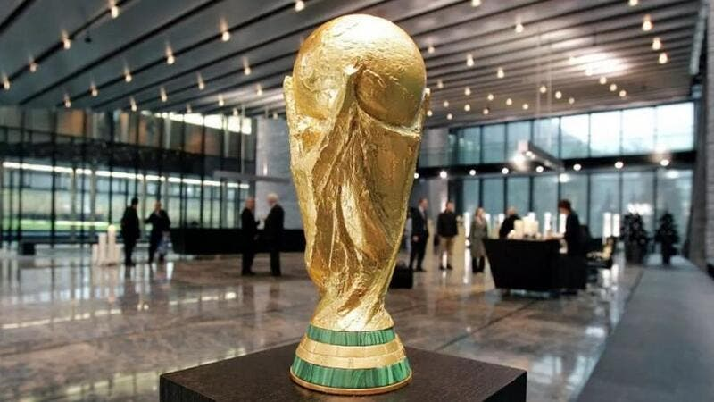 A replica of the FIFA World Cup trophy at the entrance hall of the International football federation headquarters in Zurich on December 6, 2006. (Photo: AFP)