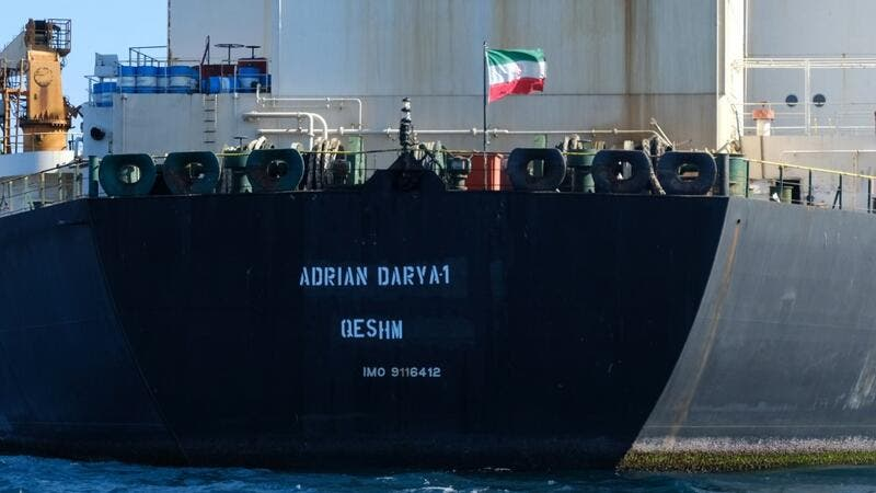 An Iranian flag flutters on board the Adrian Darya oil tanker, formerly known as Grace 1, off the coast of Gibraltar on August 18, 2019. (AFP/ File Photo)
