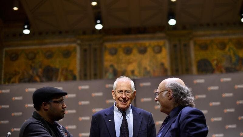 Nobel Prize winner James Peebles arrives to speak during a press conference at Princeton University on October 8, 2019 in Princeton, New Jersey. Peebles was awarded the 2019 Nobel Prize in Physics for theoretical discoveries in physical cosmology. (Mark Makela/Getty Images/AFP)