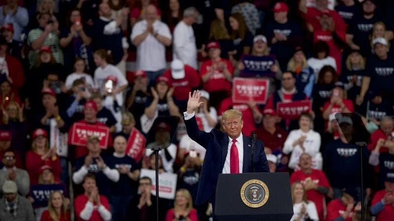 President Donald Trump waves during a campaign rally on December 10, 2019 in Hershey, Pennsylvania.  (AFP/ File Photo)