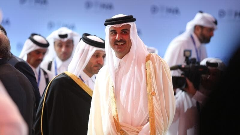 Tamim ben Hamad Al Thani, Emir of Qatar, attends the Doha Forum 2019 at the Sheraton Grand Doha Resort & Convention Hotel in Doha, Qatar, December 14th of 2019. (AFP/ File Photo)