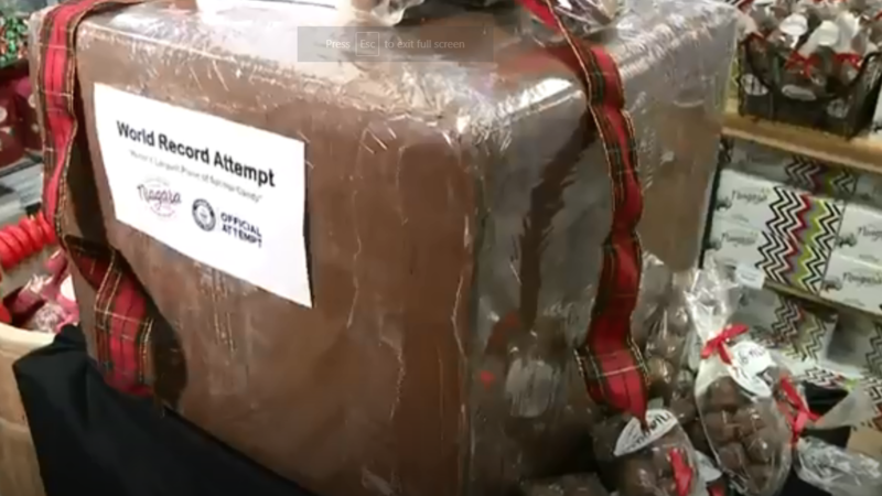 Niagara Chocolates said the 131-pound treat measures 21 inches by 22 inches by 19 inches. (Screenshot)