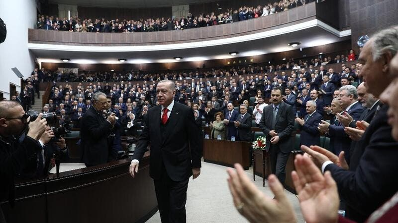 President of Turkey and leader of Justice and Development (AK) Party Recep Tayyip Erdogan attends the party's group meeting at Grand National Assembly of Turkey in Ankara, on February 12, 2020. Adem ALTAN / AFP