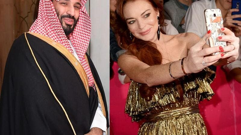 Lindsay Lohan (R) has broken up with her boyfriend, who was rumoured to be Mohammad bin Salman , the crown prince of Saudi Arabia (L). AFP/GETTY IMAGES