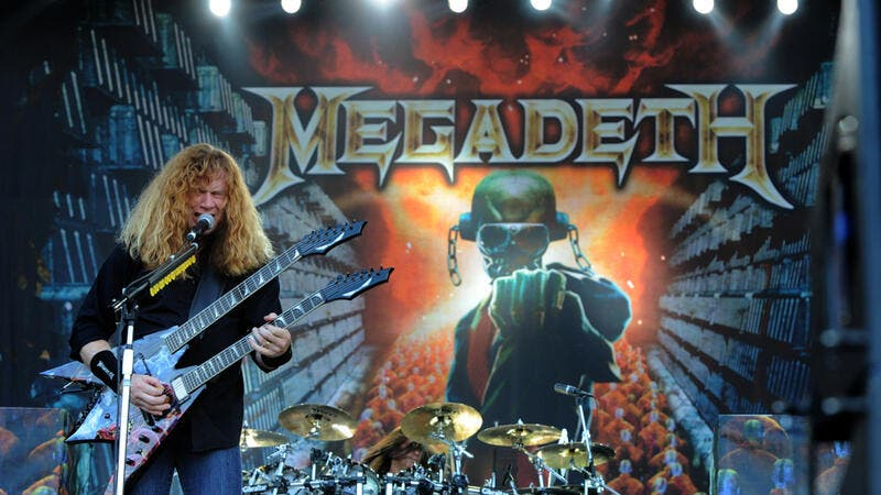 "Live concert of ""The Big 4"" at the ""Arena Concerti Fiera Milano"" : The singer and guitarist of the Megadeth band,Dave Mustaine, during the concert. (Shutterstock/ File Photo)"