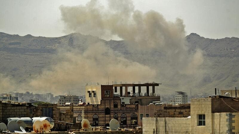 Smoke billows following a reported airstrike by the Saudi-led coalition in the Yemeni capital Sanaa, on July 1, 2020. MOHAMMED HUWAIS / AFP