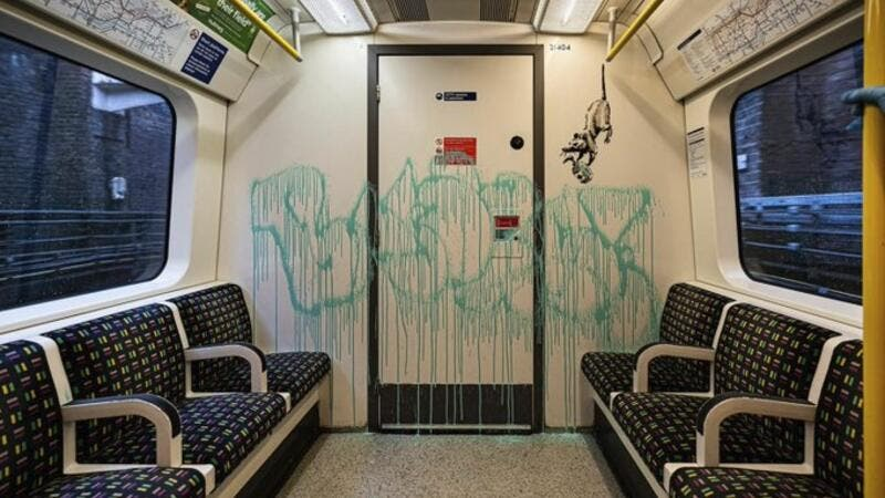 Banksy artwork removed from London Underground within hours