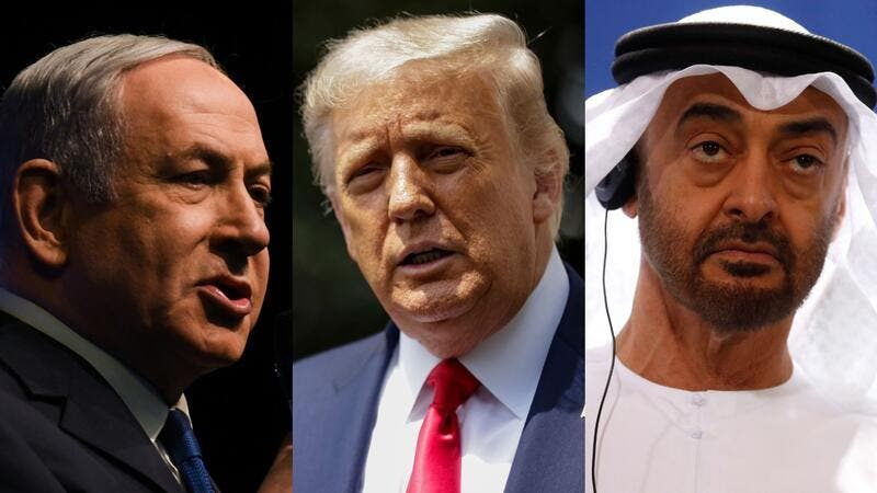 Israel Prime Minister Netanyahu, Trump and UAE Crown Prince Mohammed bin Zayed. Photo: Artur Widak/NurPhoto; Samuel Corum; Odd Andersen/AFP via Getty Images