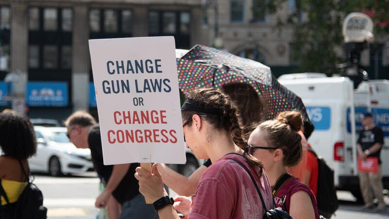 Protestors at a Moms Demand Action rally against gun violence in Foley Square. (Shutterstock/ File Photo)