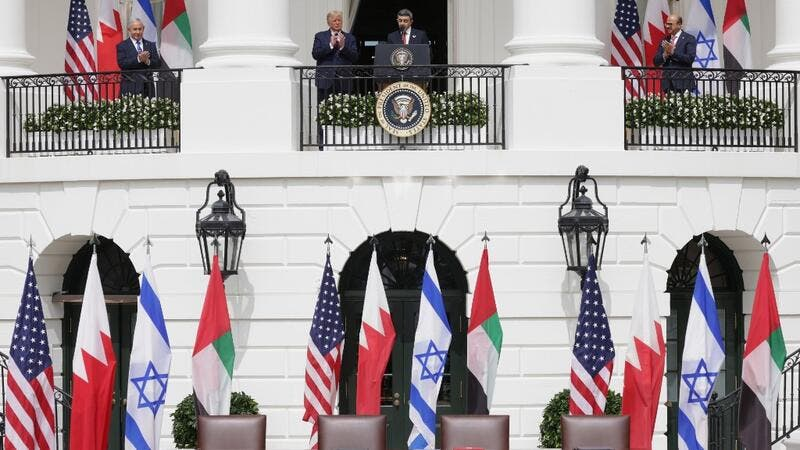 Foreign Affairs Minister of the United Arab Emirates Abdullah bin Zayed bin Sultan Al Nahyan speaks as Prime Minister of Israel Benjamin Netanyahu (L), U.S. President Donald Trump (2-L), and Foreign Affairs Minister of Bahrain Abdullatif bin Rashid Al Zayani (R) look on during the signing ceremony of the Abraham Accords on the South Lawn of the White House September 15, 2020 in Washington, DC. Witnessed by President Trump, Prime Minister Netanyahu signed a peace deal with the UAE and a declaration of intent