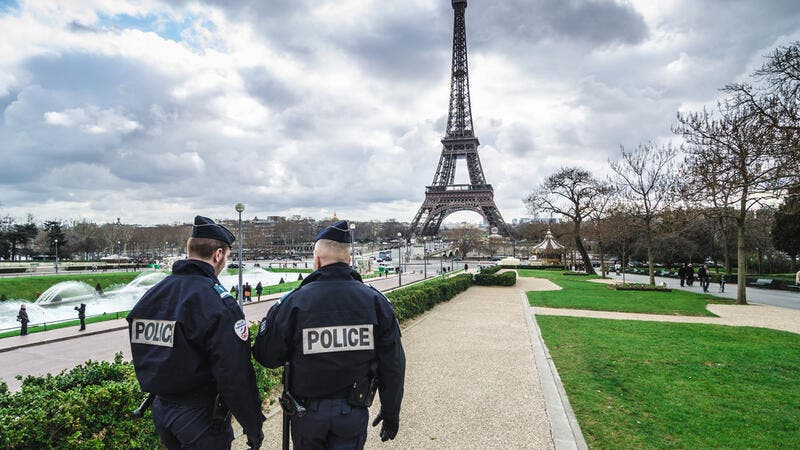 Patrols of two police officers in the Trocadero gardens and Eiffel Tower. (Shutterstock/ File Photo)
