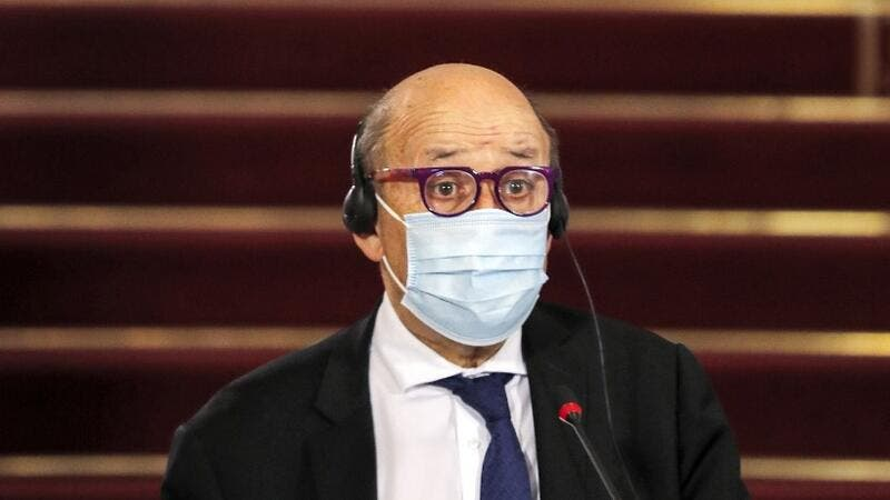 France's Minister of Europe and Foreign Affairs Jean-Yves Le Drian and the Egyptian foreign minister, mask-clad due to the COVID-19 coronavirus pandemic, give a joint press conference after their meeting at Tahrir Palace in the centre of the capital Cairo on November 8, 2020. Khaled DESOUKI / AFP