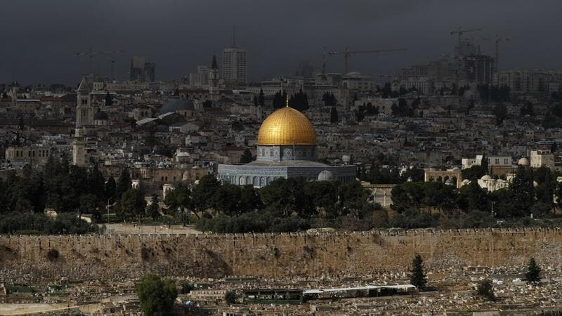 A general view taken on January 15, 2021 from the Mount of Olives shows Jerusalem's Old City with the Dome of the Rock in the al-Aqsa mosque compound. AHMAD GHARABLI / AFP