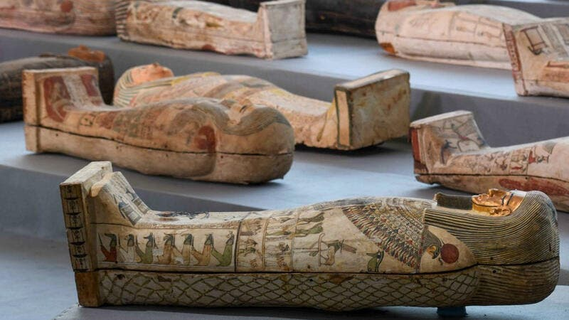 Egypt: Temple and coffins unearthed at archaeological site