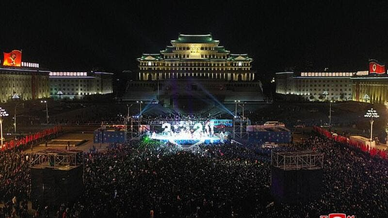 A performance involving dancers, singers and fireworks welcomed in the new year in Kim Il Sung Square in Pyongyang. (AFP/File)