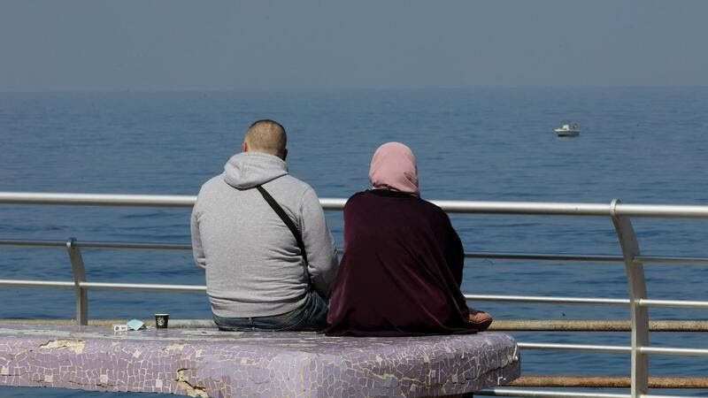 A couple at Beirut's promenade