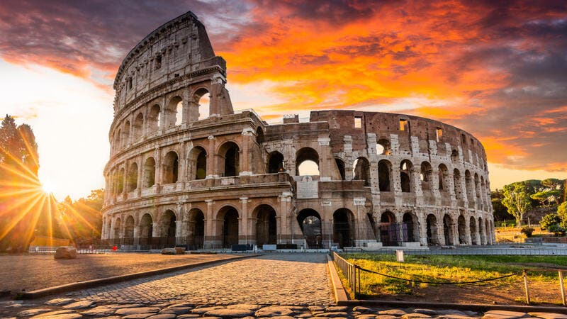 The Colosseum at sunrise.