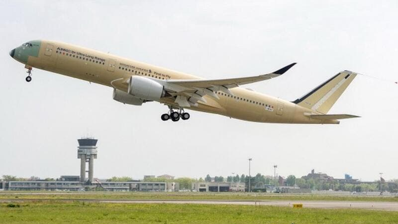 The first Ultra Long Range A350 XWB performs its maiden flight.