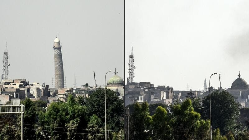 The destruction of the Al-Hadba minaret in Mosul by IS. (AFP)