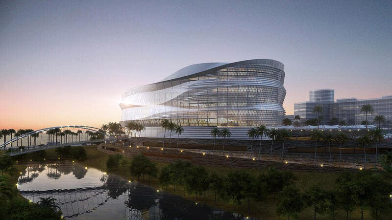 A rendering shows the future Omantel headquarters in Muscat, which profits from the $130 million sukuk would help fund when issued. (HDR Inc.)
