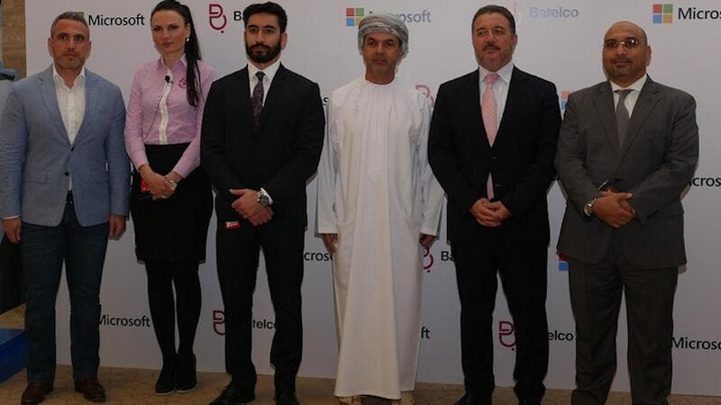 Batelco General Enterprise Division Abderrahmane Mounir and Microsoft Country Manager Bahrain and Oman, Sheikh Saif Hilal Al Hosni with other officials
