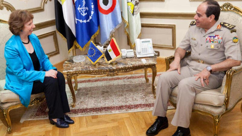 Egyptian defense minister Abdel Fatah el-Sisi (R) meets with EU High Representative for Foreign Affairs and Security Policy Catherine Ashton in Cairo. A leaked video shows Mr. Sisi discussing how to gag the press. (Image credit: AFP)