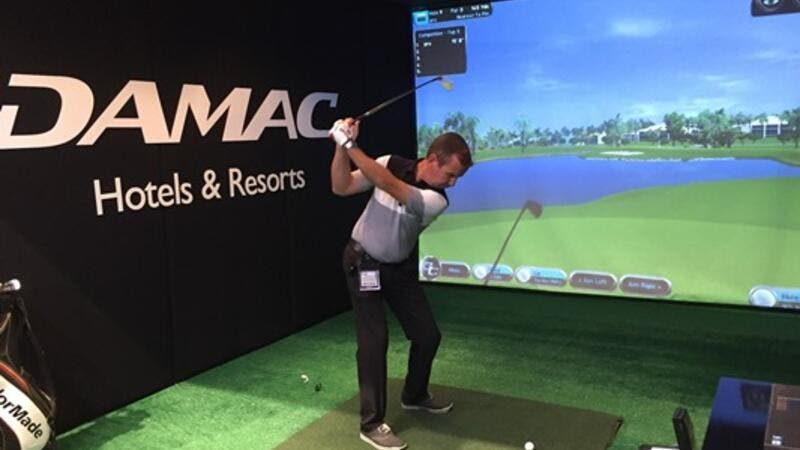 Golf simulator at DAMAC's stand (HC0350) during ATM 2017