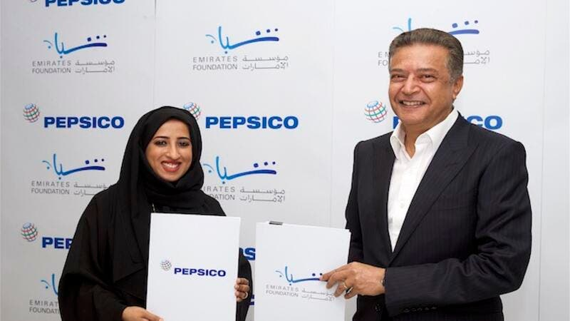 HE Maytha Al Habsi, Emirates Foundation and Omar Farid, PepsiCo sign an MoU to extend their partnership.