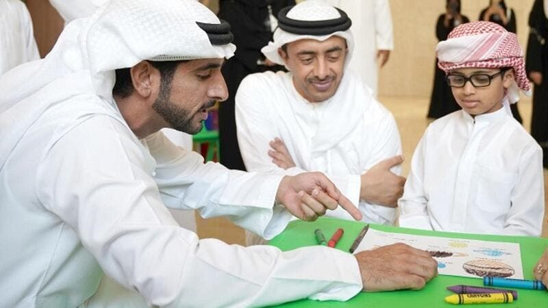 HH Sheikh Abdullah bin Zayed Al Nahyan and HH Sheikh Hamdan bin Mhammed bin Rashid during MBRSC Science Event workshop 2017