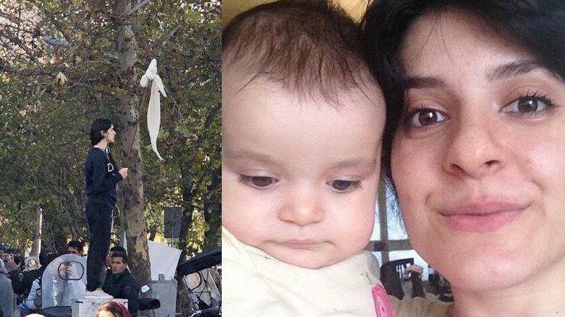 Pictures of Iranian activist Vida Movahed, who defied compulsory hijab, with her toddler have been widely shared on Twitter (Twitter)