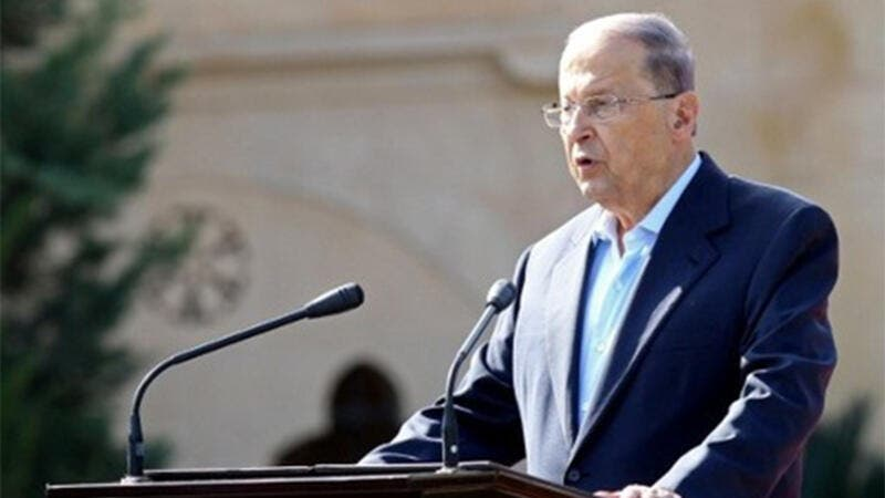 Lebanese President Michel Aoun delivers a speech during a rally celebrating his election on November 6, 2016, at the presidential palace in Baabda. (AFP)