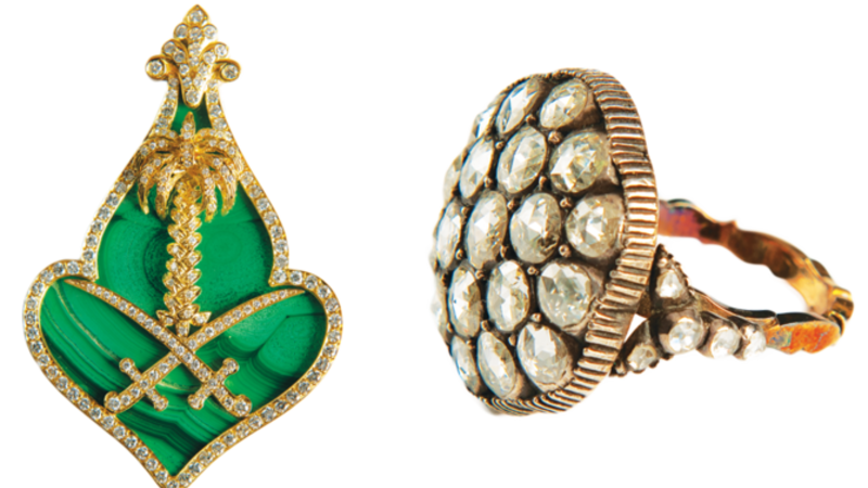 Two royal items in the exhibition: (left) A malachite, gold and diamond brooch gifted to Princess Ceeta Al-Dammer, wife of the late King Khalid; and a diamond ring belonging to one of King Abdul Aziz's daughters. (Arab News)