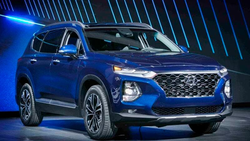 The fourth generation Santa Fe on display.