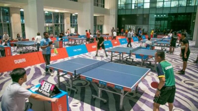Action from the World Table Tennis Day Corporate Challenge in Dubai (source: Arab News)