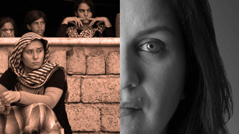 (left) Yazidi refugees (right) NYT journalist Rukmini Callimachi (Rami Khoury/Al Bawaba)
