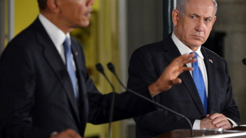 US President Barack Obama  speaks during a joint press conference with Israel's Prime Minister Benjamin Netanyahu following a bilateral meeting at the Prime Minister's residence in Jerusalem on March 20, 2013. [Getty Images]