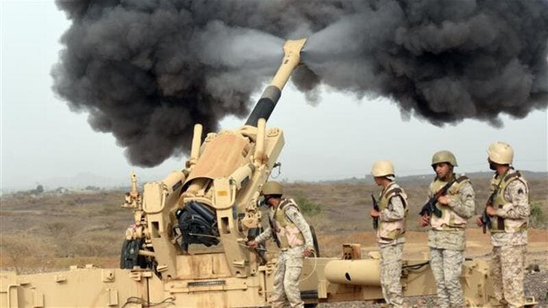 Up to 50 UK military personnel have been teaching battlefield skills to soldiers who will be deployed in the so-called 'dirty war'. Picture: Saudi troops firing shells (AFP/File)
