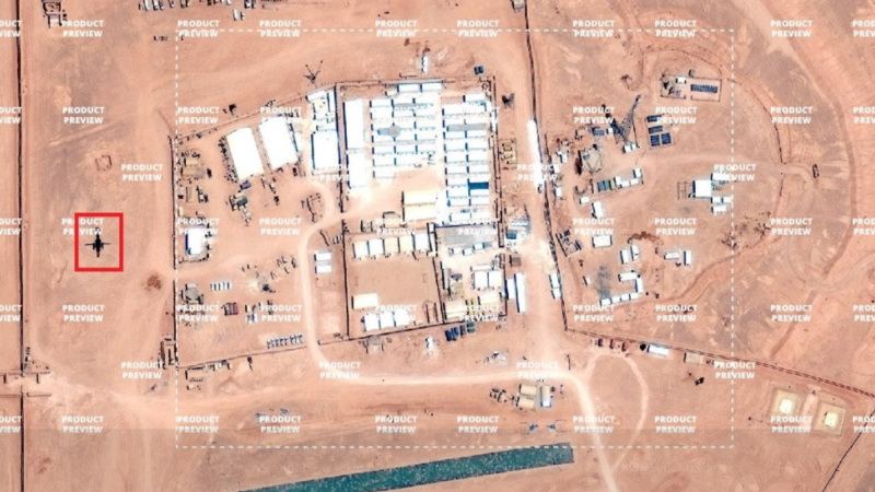 An image from Twitter which reportedly shows the US base in Syria. This image is not verified. (Twitter: @aldin_ww)