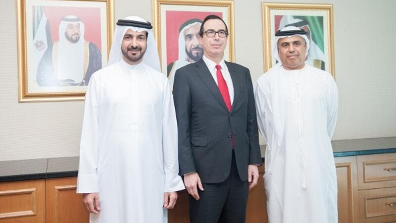 HE Obaid Humaid Al Tayer, Minister of State for Financial affairs, met today with the US Treasury Secretary Steven Menuchin, in the Ministry's headquarters in Abu Dhabi.
