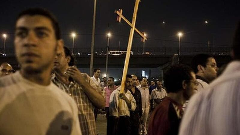 Coptic Christians protest outside the Cairo Coptic Hospital the day after 25 Coptic Christians were killed by the army. (Photo: Ed Giles)