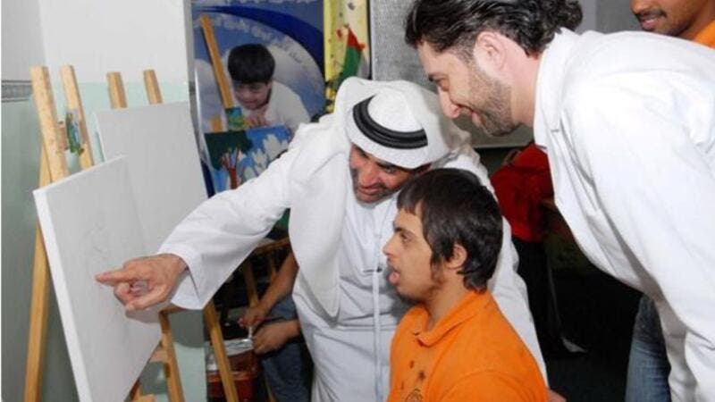 H.E. Sheikh Abdulaziz bin Ali Al Nuaimi during the workshops with children